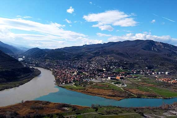View on Mtskheta and the confluence of the Mtkvari and Aragvi rivers